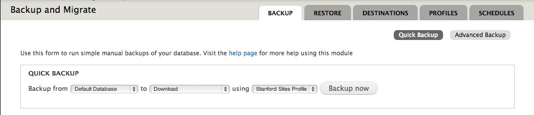 Screenshot of Backup and Migrate database