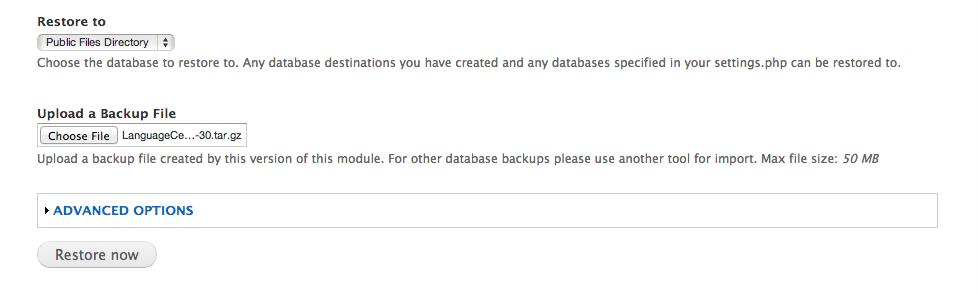 Screenshot of Backup and Migrate Restore files