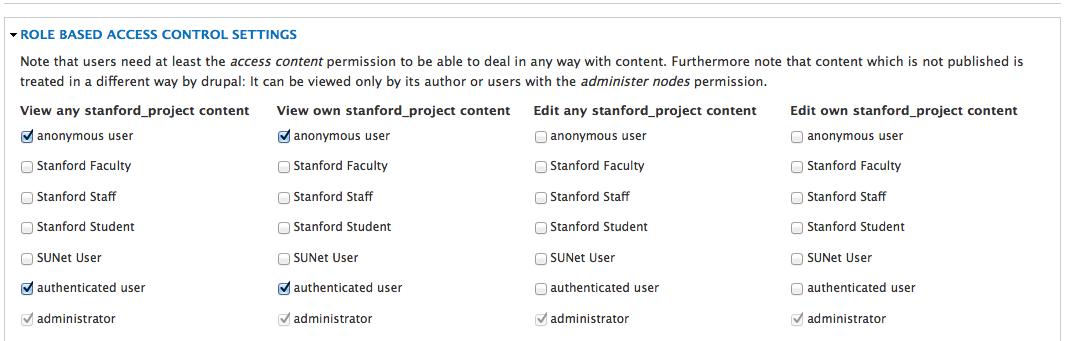 Role based access control settings