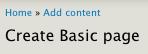 Create Basic page