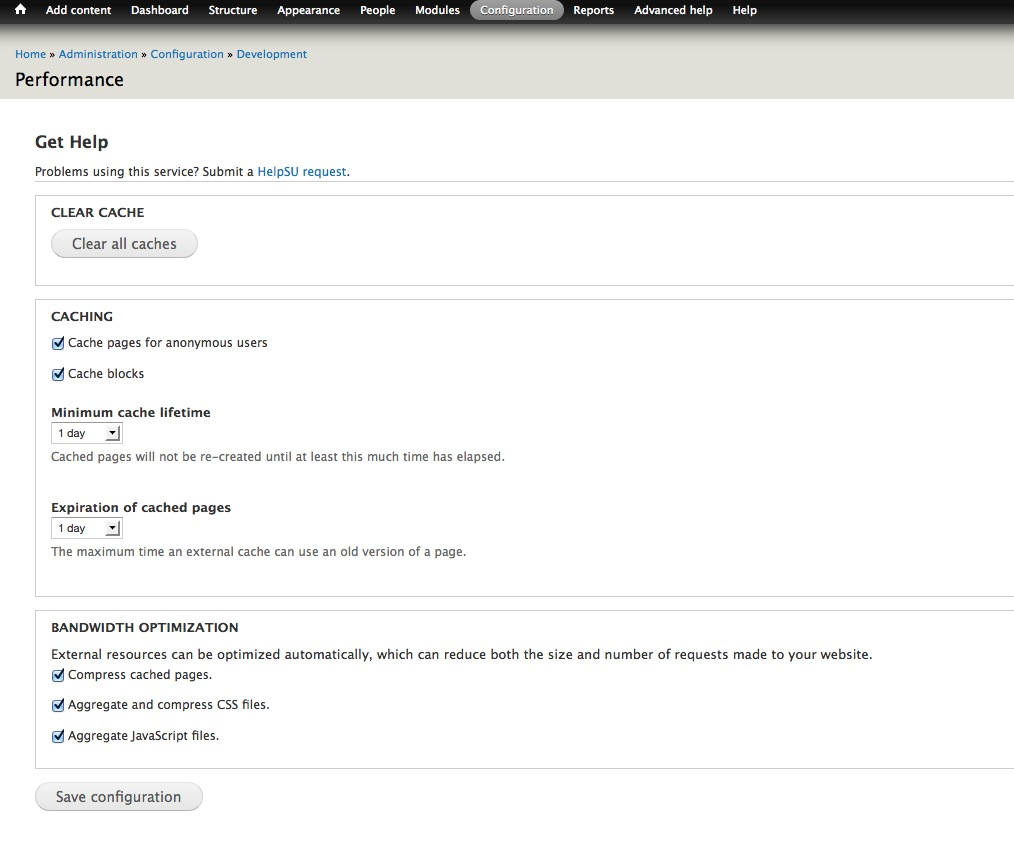 Screenshot Of The Drupal Core Performance Configuration Screen