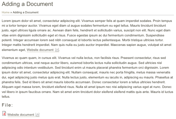 Adding a Document page node