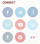 Screenshot of Connect block with links to feacebook, twitter, google+, linkedin, youtube, vimeo, tumbler, pinterest, flickr