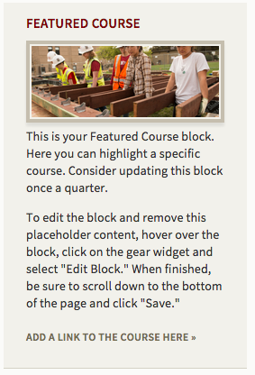 """Screenshot of example postcard block """"Featured Course"""""""