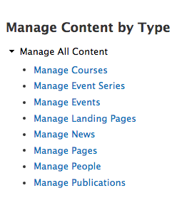 Manage Content by Type