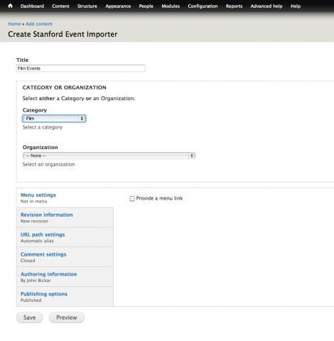 Screenshot of the node add screen highlighting the 'film' category