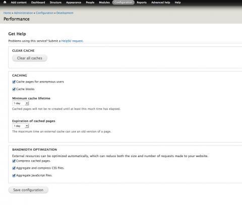 Screenshot of the Drupal core performance configuration screen