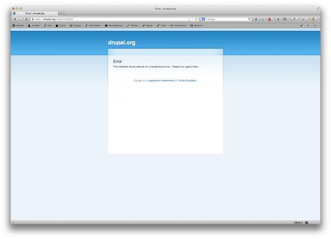 Screenshot showing drupal.org with an