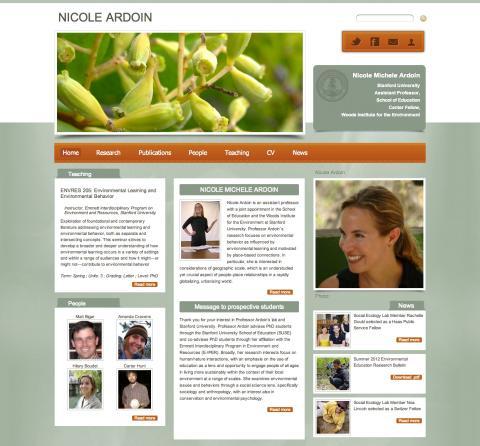 Screenshot of Nicole Ardoin's website