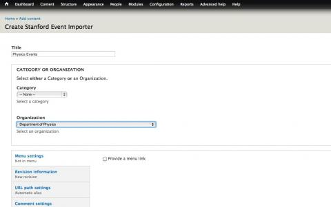 Screenshot of the node add screen highlighting the 'Department of Physics' organization