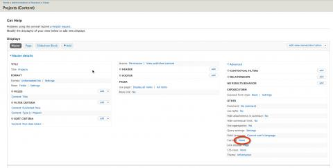 Screenshot of the Views edit page with the caching setting highlighted