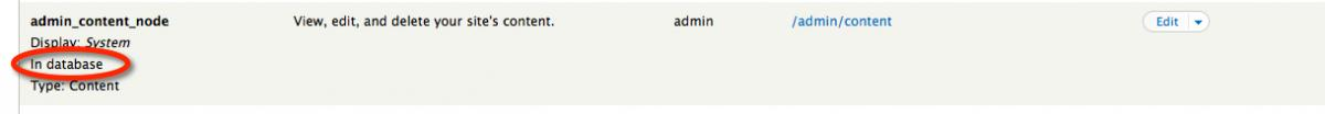 Screenshot showing the View named admin_content_node as in the database