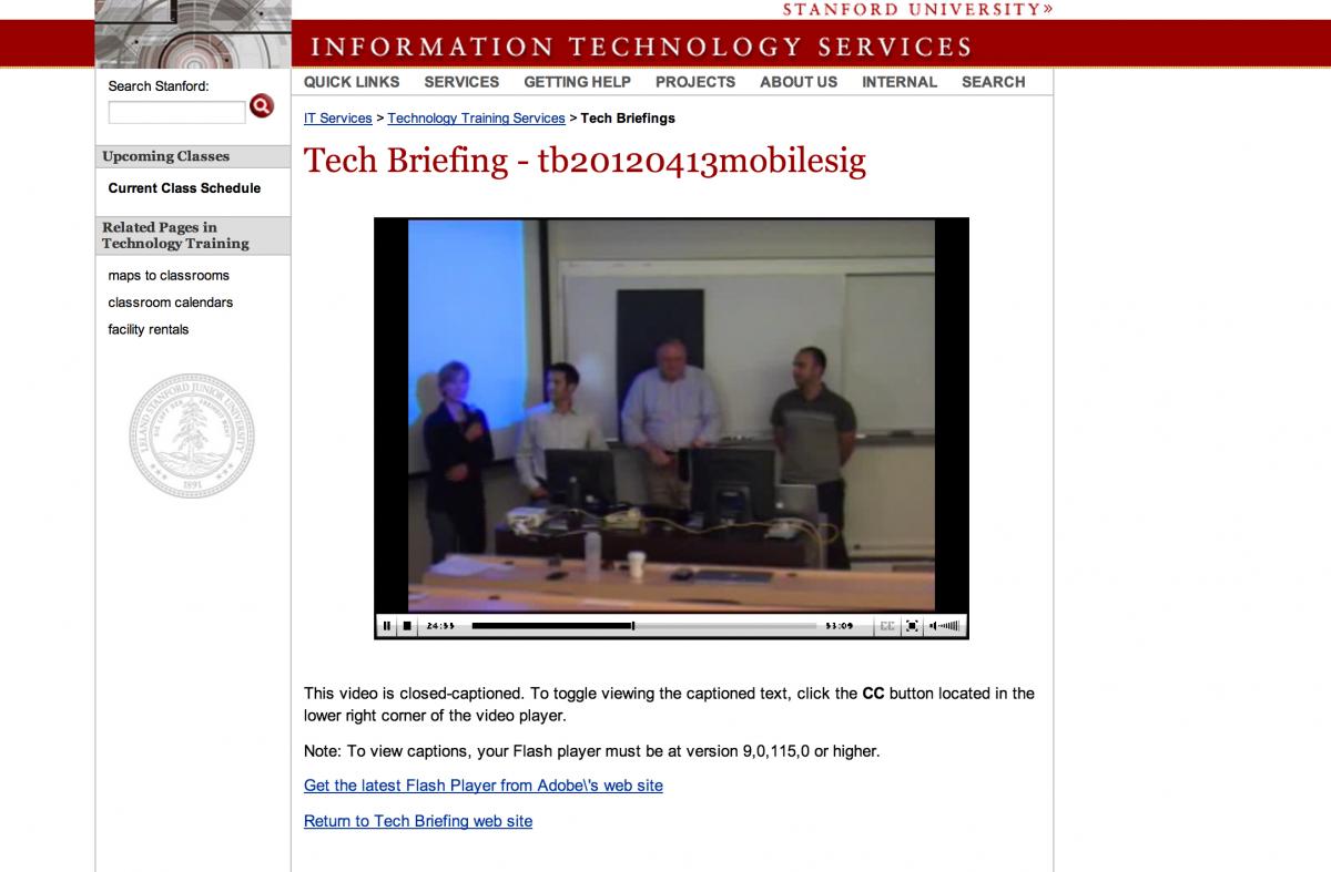 Screenshot of Tech briefings website